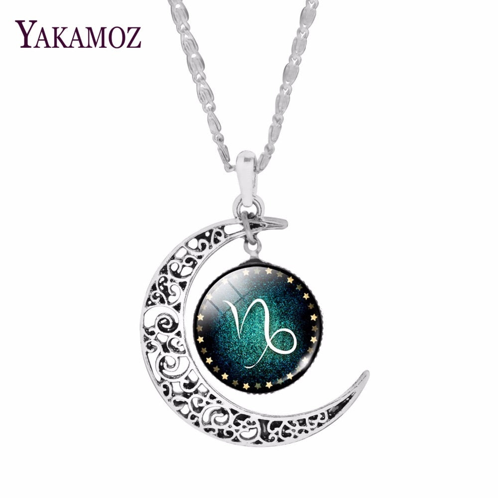 Trendy Silver Plated Crescent Zodiac Pendant Necklaces