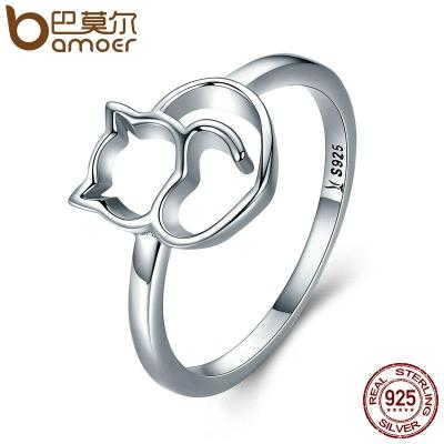 100% 925 Sterling Silver Little Cat & Heart Ring Women