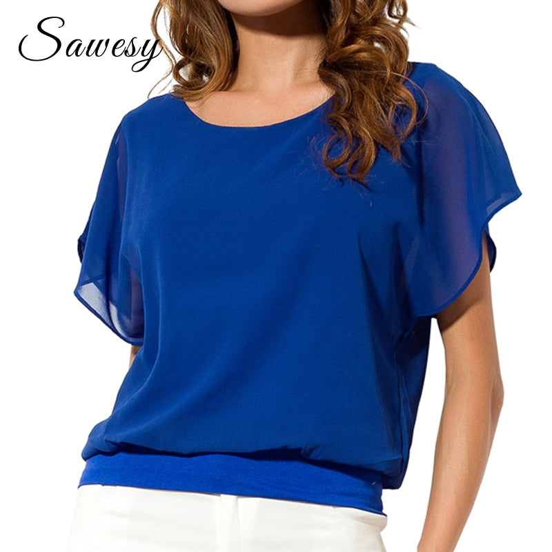 Summer Chiffon Blouse Ruffle Batwing Short Sleeve Casual Shirt