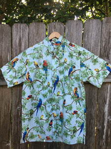 Short Sleeve Button Down Sporting Shirt Cotton Parrots