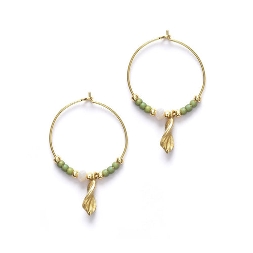 Wave Chaser hoops  - sage green