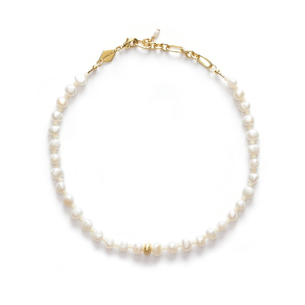 Stellar pearly anklet gold