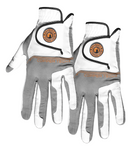 Copper Tech Golf Glove, White/Gray Mens PAIR (Left and Right)