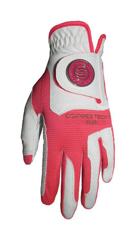 Copper Infused Golf Glove White/Neon Pink