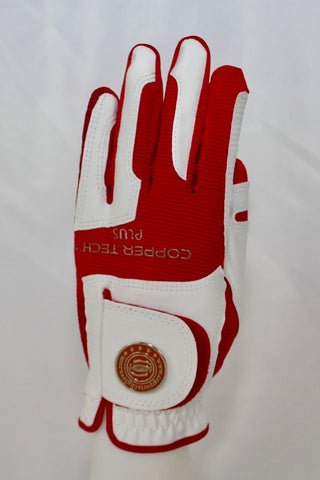 Copper Infused Golf Glove White/Red