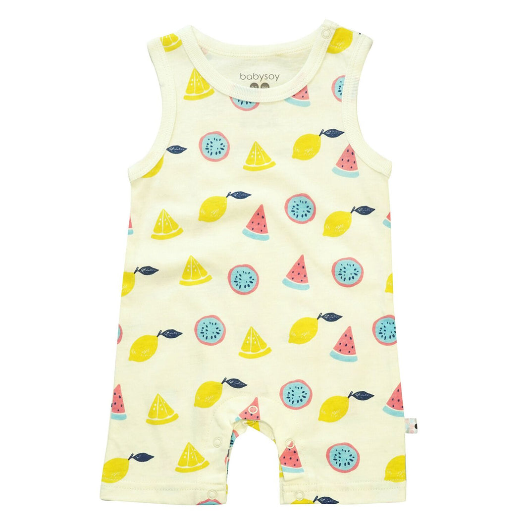 Babysoy Inc - Babysoy Pattern Prints Tank Romper - Fruits