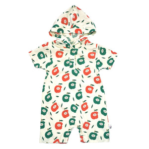 Babysoy Inc - Babysoy Short Sleeve Hoodie Romper - Apple