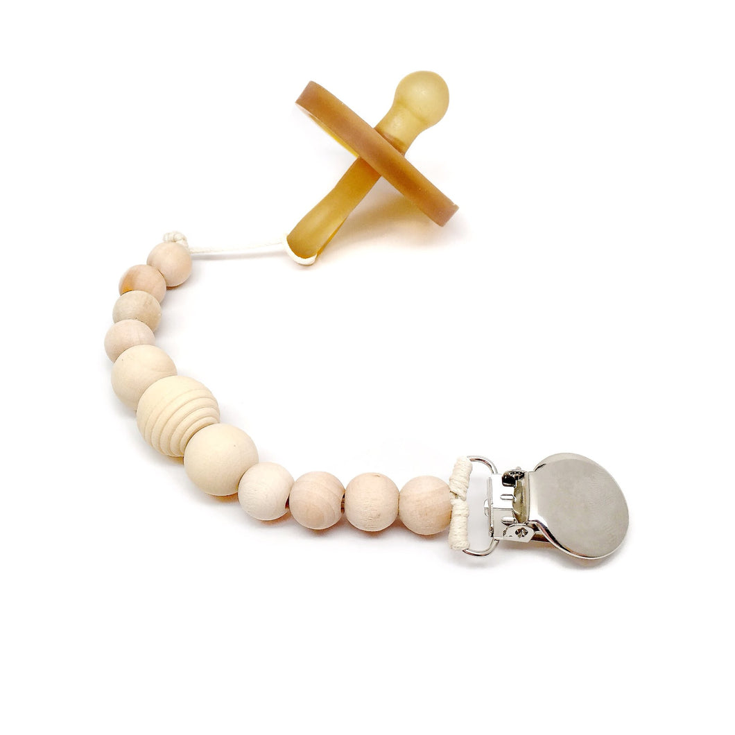 Honeycomb Wood Bead Pacifier Clip -paci not included-