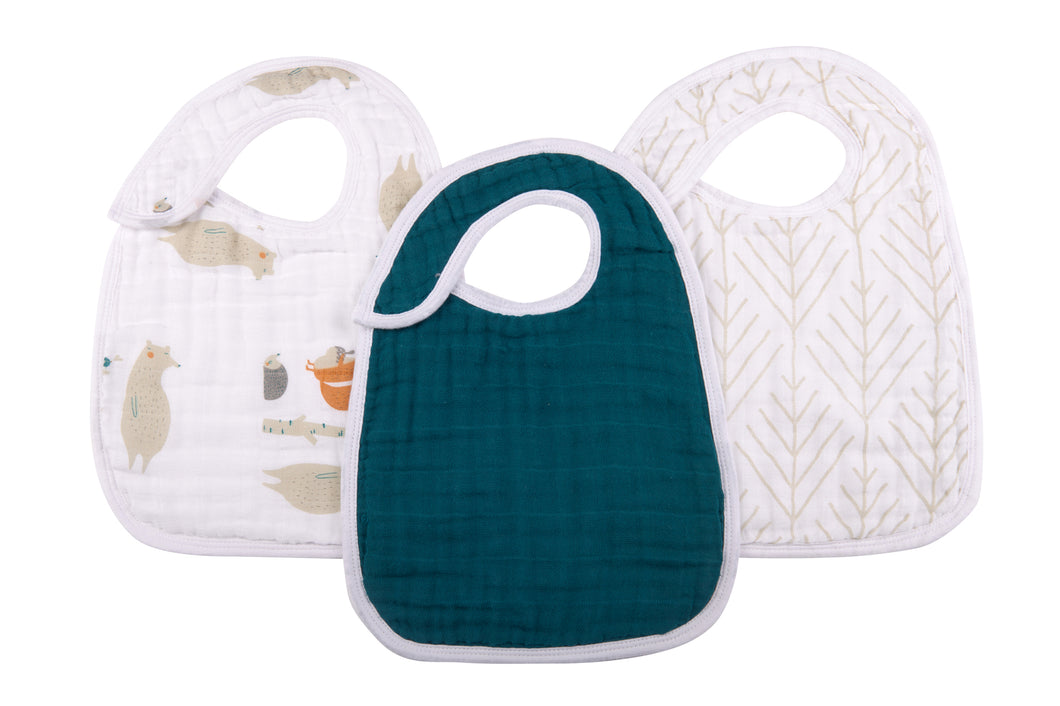 Natural Muslin Cotton Snap Bibs *click for options*