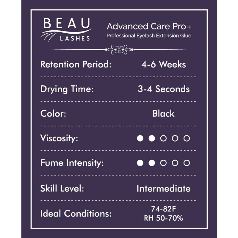 Beau Lashes Advanced Care Pro+ Eyelash Extension Glue Front Of Adhesive Bottle