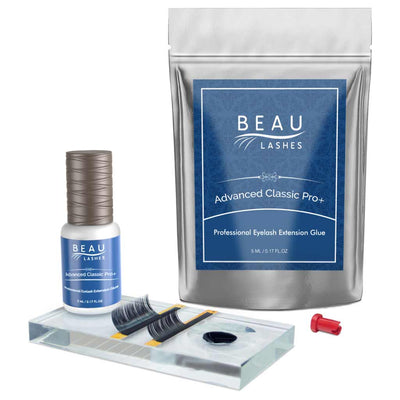 Beau Lashes Advanced Classic Pro+ Eyelash Extension Glue Pouch Bottle And Lash Adhesive Pallet