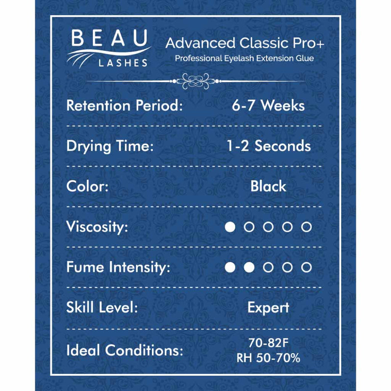 Beau Lashes Advanced Classic Pro+ Eyelash Extension Glue Front Of Adhesive Bottle
