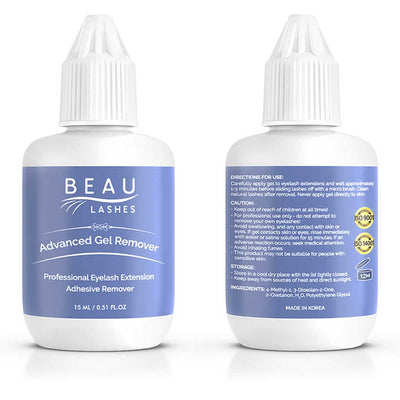 Beau Lashes Advanced Gel Remover Eyelash Extension Remover Front And Back Of Bottle