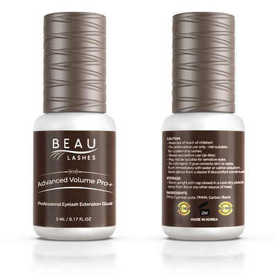 Beau Lashes Advanced Volume Pro+ Eyelash Extension Glue Front And Back Of Adhesive Bottle