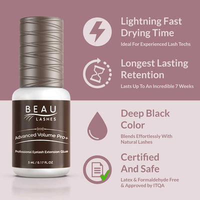 Beau Lashes Advanced Volume Pro+ Eyelash Extension Glue Infographic