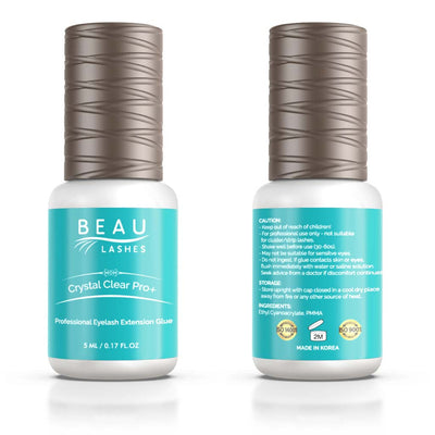 Beau Lashes Crystal Clear Pro+ Eyelash Extension Glue Front And Back Of Adhesive Bottle
