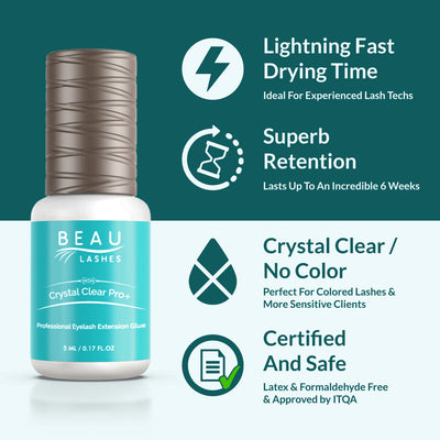 Beau Lashes Crystal Clear Pro+ Eyelash Extension Glue Infographic