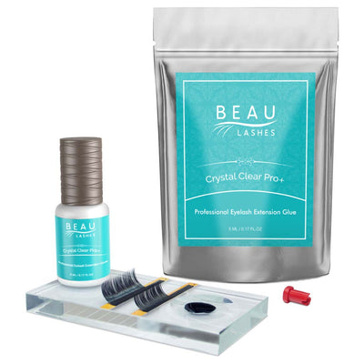 Beau Lashes Crystal Clear Pro+ Eyelash Extension Glue Pouch Bottle And Lash Adhesive Pallet