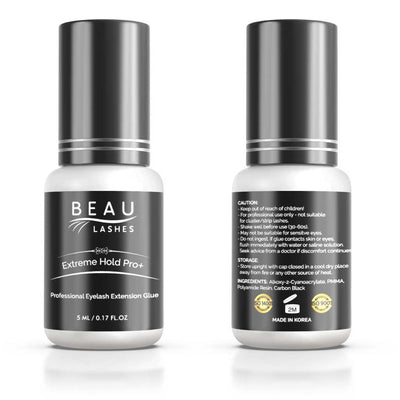 Beau-Lashes-Extreme-Hold-Pro+-Eyelash-Extension-Glue-Front-And-Back-Of-Adhesive-Bottle