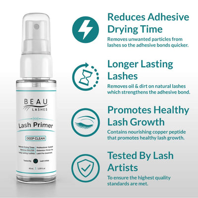 Beau Lashes Eyelash Extension Lash Primer Bottle Reduces Adhesive Drying Time Longer Lasting Lashes
