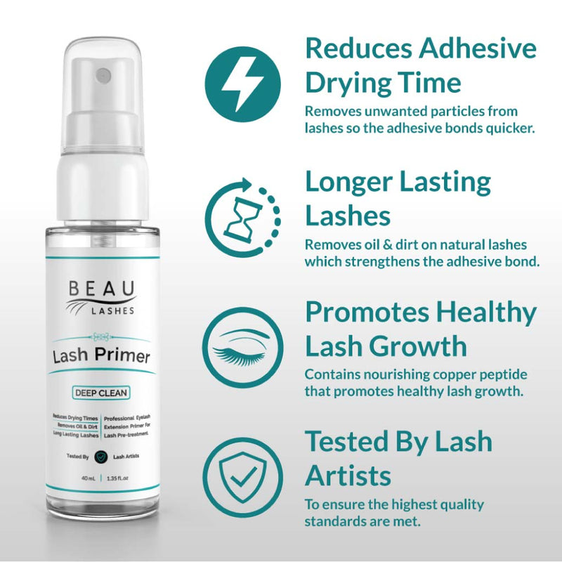 Beau Lashes Eyelash Extension Lash Primer Box And Bottle