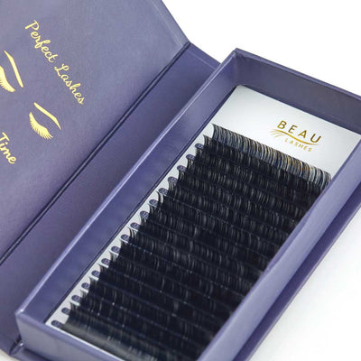 Beau Lashes Matte Mink Eyelash Extensions Open Box D Curl Close Up
