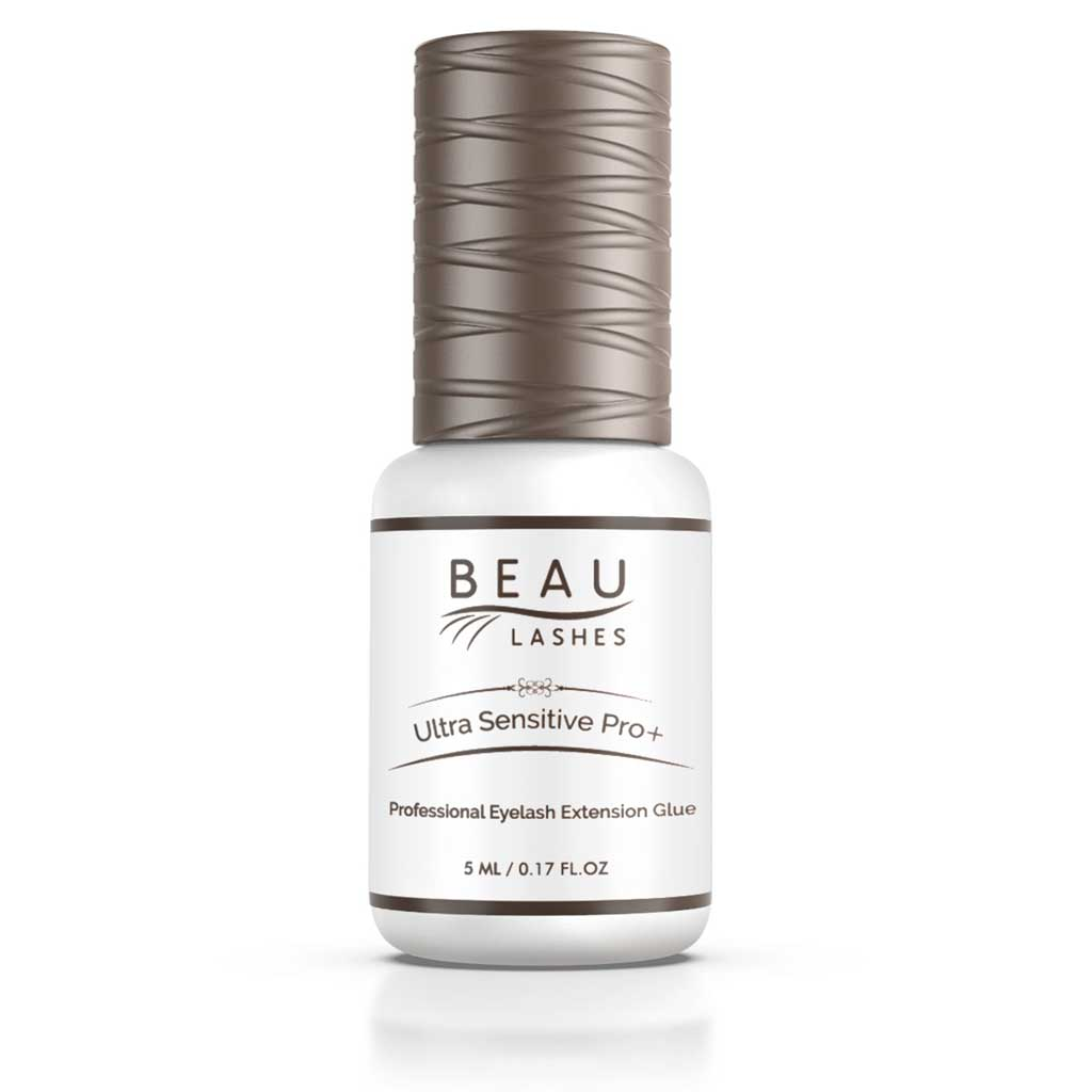 Beau Lashes Ultra Sensitive Pro+ Eyelash Extension Glue Front Of Adhesive Bottle