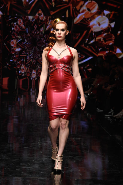 Metallic Red Heavy Rubber Halter Dress