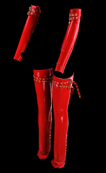 Cherry Red 2 Strap Latex Gloves & Stockings