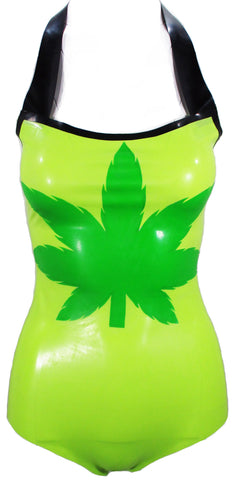 Marijuana Leaf Halter Latex Bathing Suit