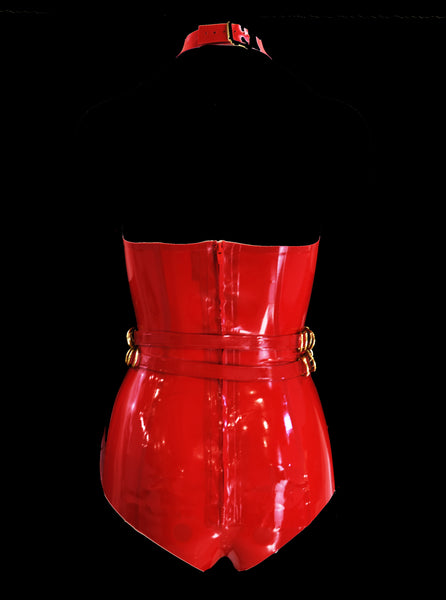 Cherry Red & Gold 5 Cage Restricted Latex Bodysuit & Belt