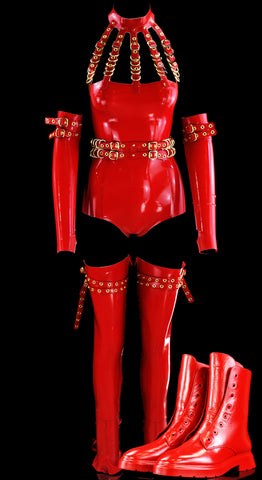 Cherry Red & Gold 5 Cage Restricted Latex Look With Boots