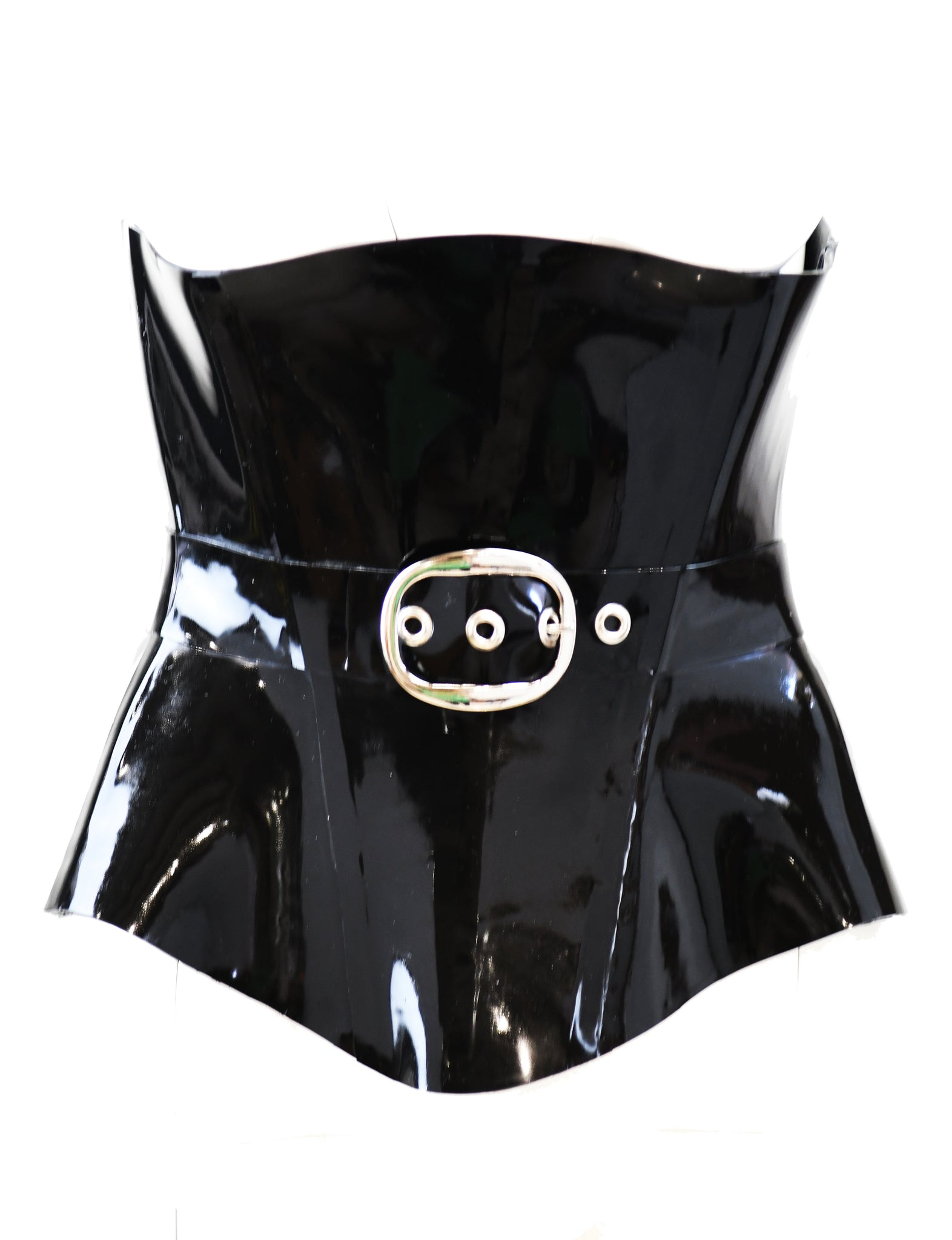 Black Heavy V Latex Underbust Corset