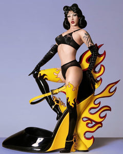 Prada Black & Yellow Fire Flame Latex Stockings