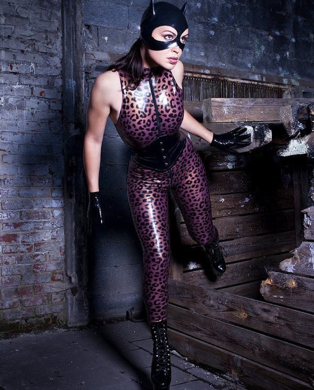 Leopard Print Sleeveless Latex Catsuit