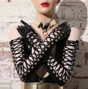 Opera Length Lace Up Latex Finger Gloves