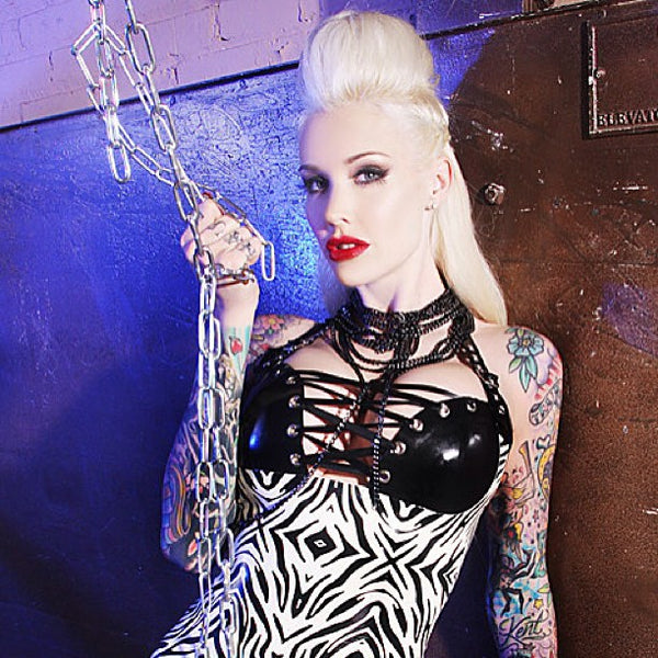 Zebra Print Bondage Dress - BIZARRE FETISH COUTURE