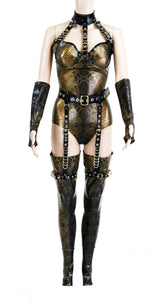 Antique Gold Latex Restricted Bodysuit, Garter Belt, Stockings & Gloves