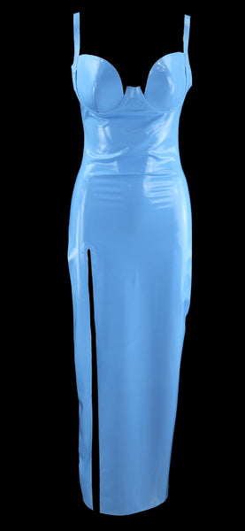Baby Blue Latex Tulip Cup High Slit Gown