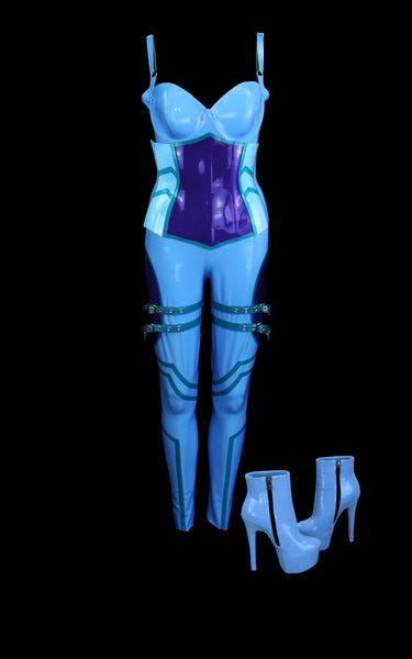 Baby Blue & Violet Motocross Latex Look