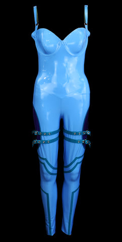 Baby Blue & Violet Motocross Latex Jumpsuit