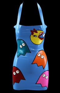 Baby Blue  PacMan in Drag Latex Halter Mini Dress