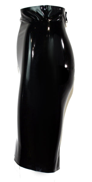 Black Back Slit Latex Pencil Skirt