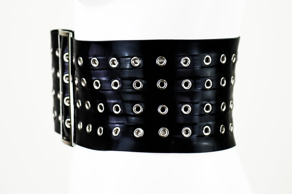 Heavy Rubber Latex Eye Ring Belt