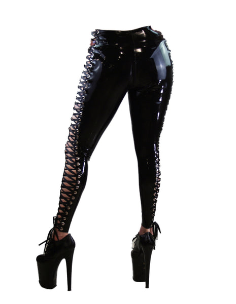 Corset Tie Latex Biker Pants