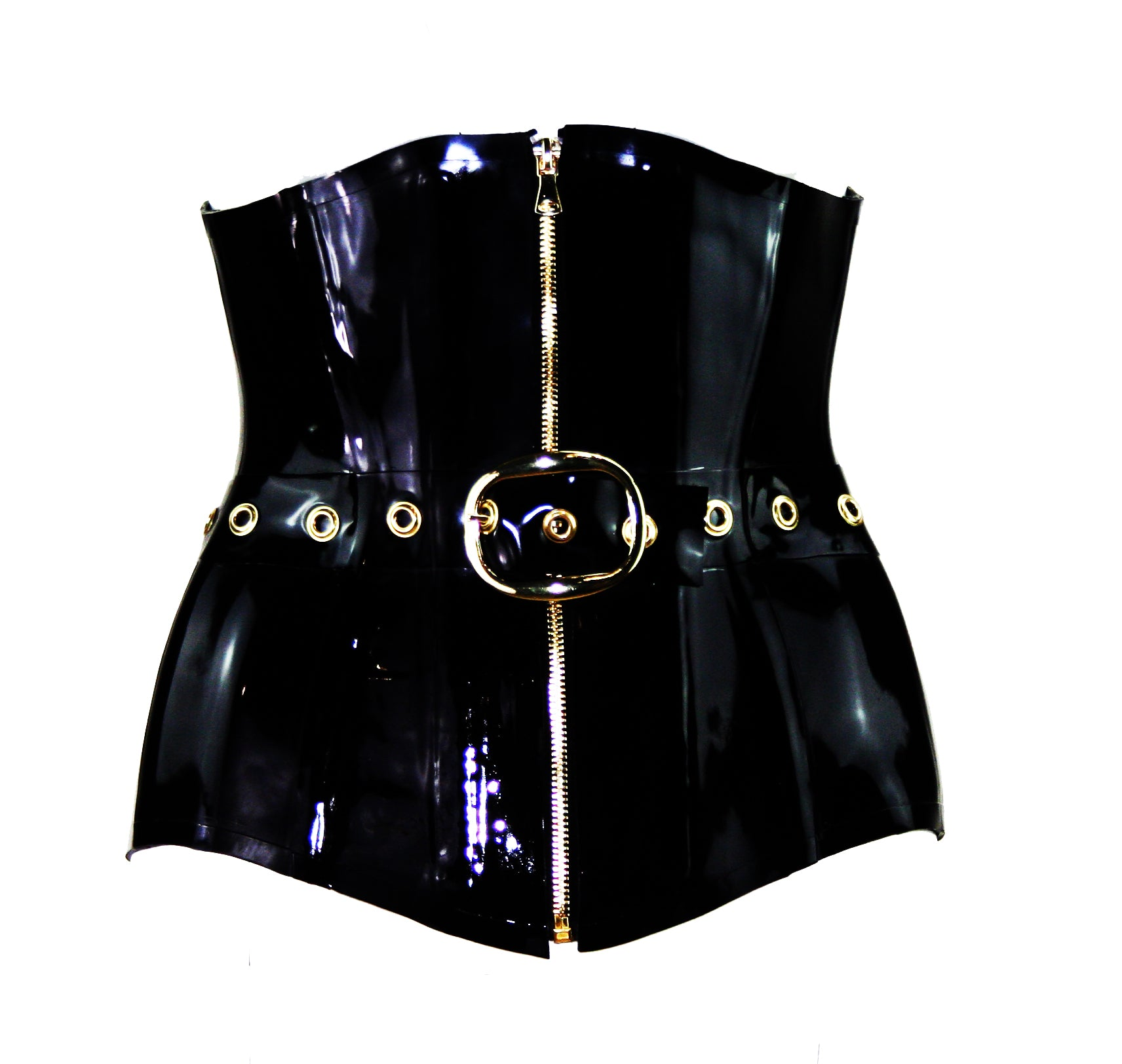 Black & Gold Heavy Rubber Latex Underbust Belt Corset