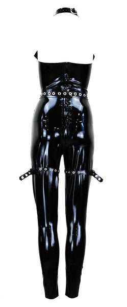 Black Neck Cage Latex Jumpsuit With Garter Belt