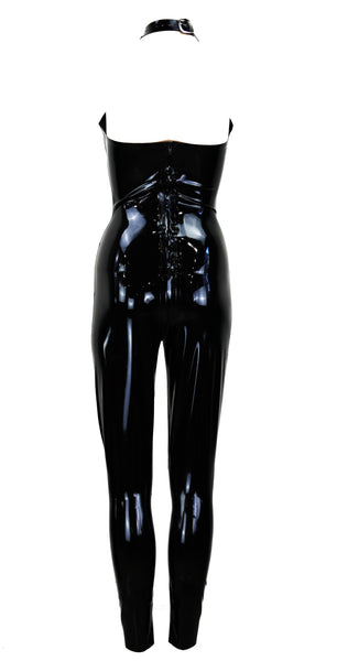 Black Neck Cage Latex Jumpsuit