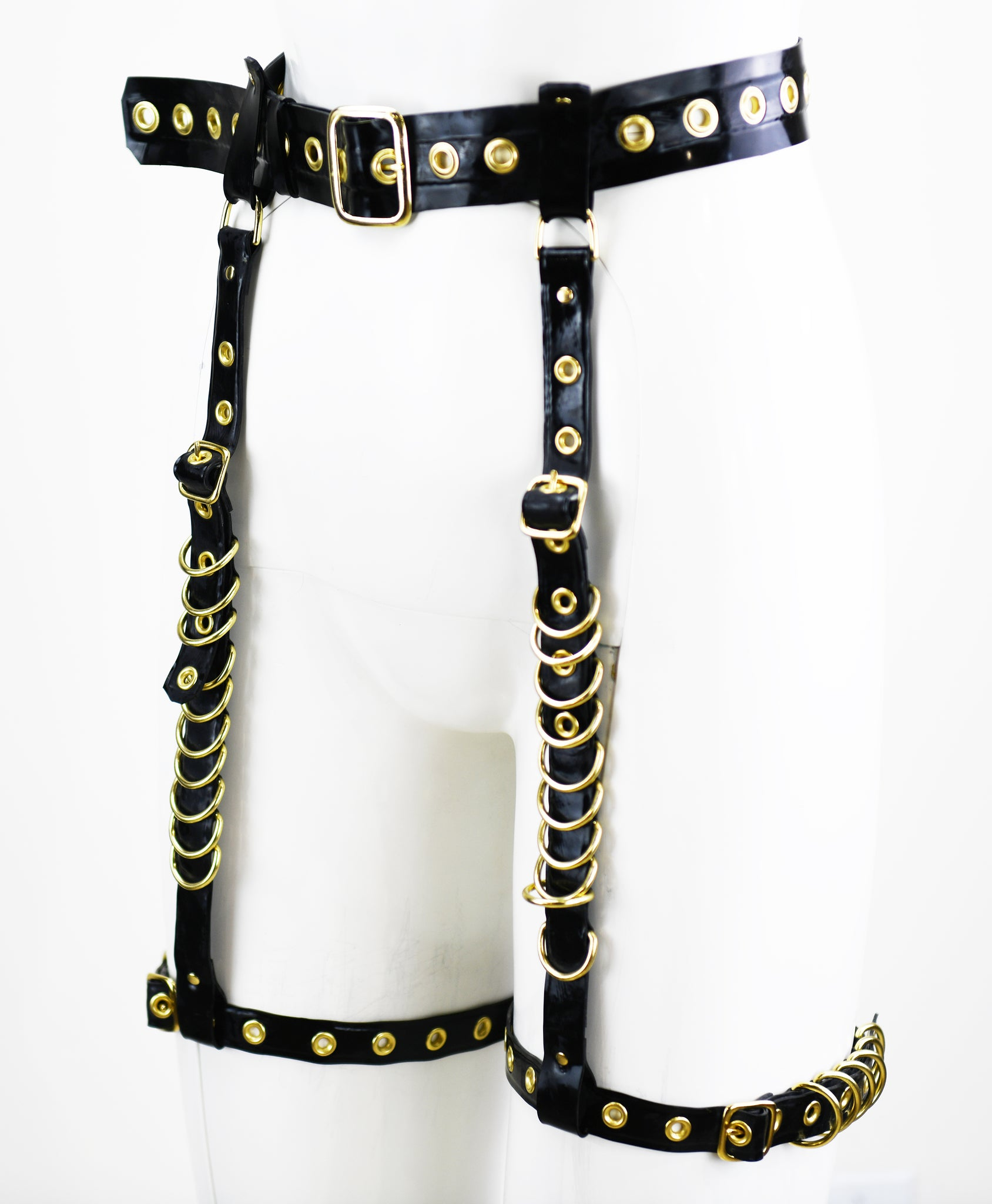 Black & Gold Hardware Heavy Rubber Latex Garter Belt