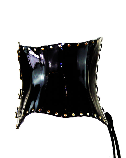 Black & Gold Heavy Rubber Underbust Buckle Latex Corset